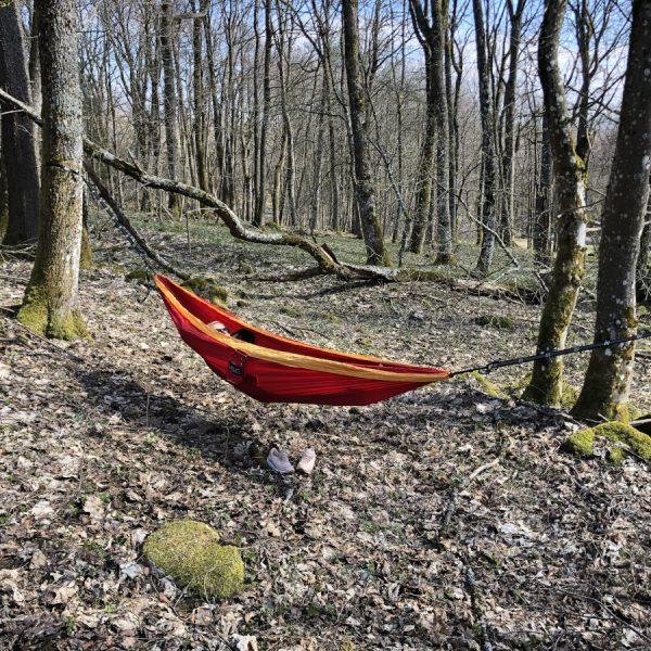 Hängematte mitten in der Natur zwischen Bäumen und Wiesen.